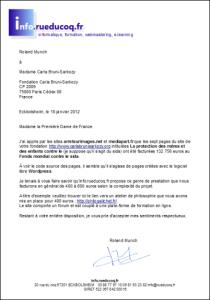 Lettre à Carla Bruni-Sarkozy