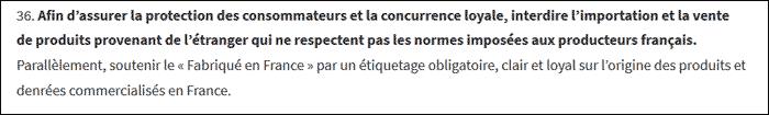 Afin d'assurer la protection des consommateurs et la concurrence loyale, interdire l'importation et la vente de produits provenant de l'étranger qui ne respectent pas les normes imposées aux producteurs français
