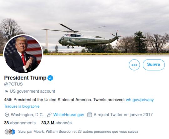 Compte twitter du président des États-Unis