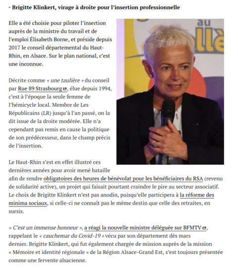 La nomination de Brigitte Klinkert vue par Médiapart
