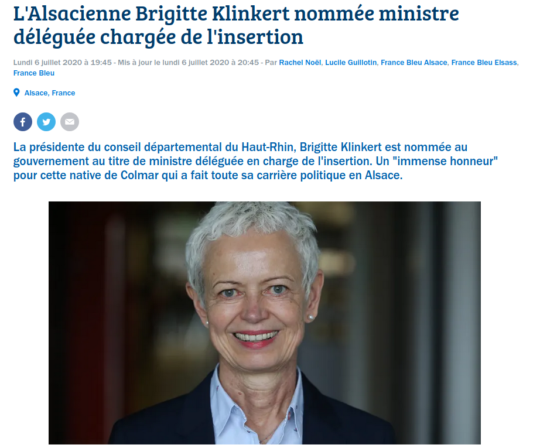 La nomination de Brigitte Klinkert vue par france Bleue Alsace