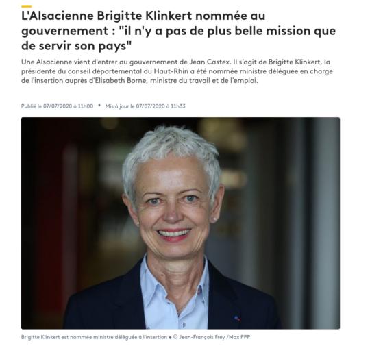 La nomination de Brigitte Klinkert vue par France3 Alsace