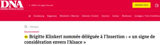 La nomination de Brigitte Klinkert vue par les DNA