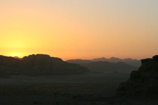 Coucher de soleil dans le Wadi Rum