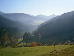 Brume automnale près d'Oppenau, Forêt-Noire